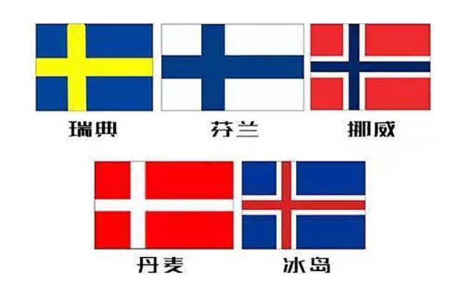 丹麦、挪威、瑞典、芬兰、冰岛的国旗