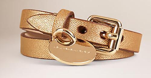 Metallic Leather Wrapround Bracelet
