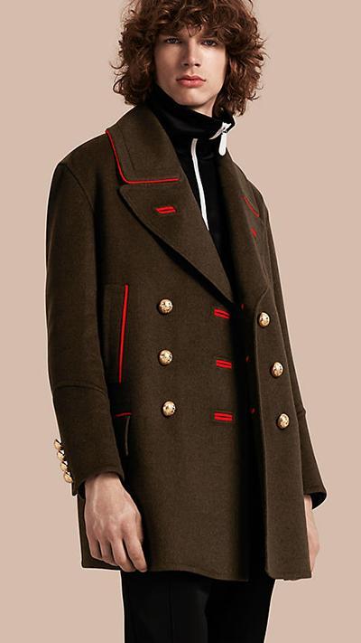 Cashmere Wool Military Pea Coat