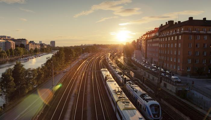 Sweden, Stockholm, Elevated view of trains