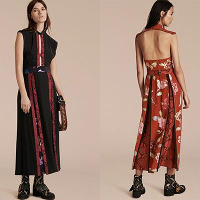 Burberry Silk Dress With Floral And Python Print Panels