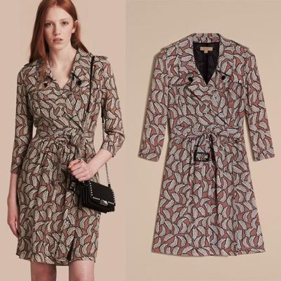 Burberry Leaf Print Silk Trench Dress