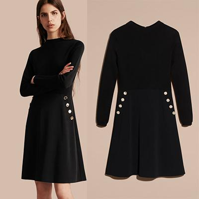 Burberry Long-Sleeved Silk Wool Military Dress