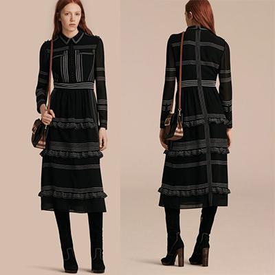 Burberry Topstitch Detail Silk Shirt Dress