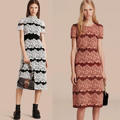 Burberry Mesh And Macrame Lace Shift Dress