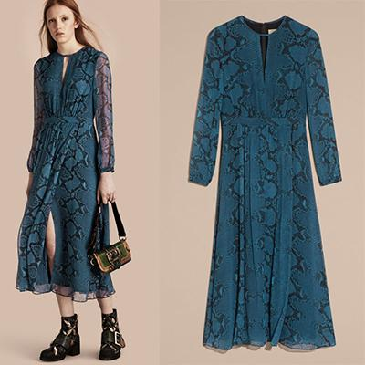 Burberry Python Print Silk Dress