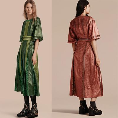 Burberry Long lamé And Python Print Dress