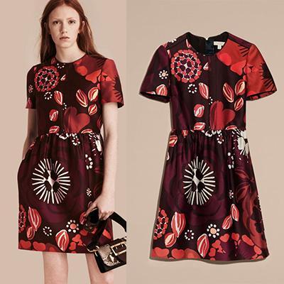 Burberry Floral Print Cotton Wool Blend A-Line Dress