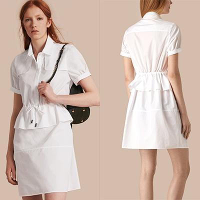 Burberry Peplum Detail Cotton Shirt Dress