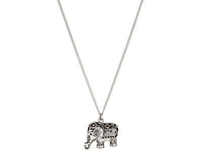 Filigree Elephant Long Pendant Necklace