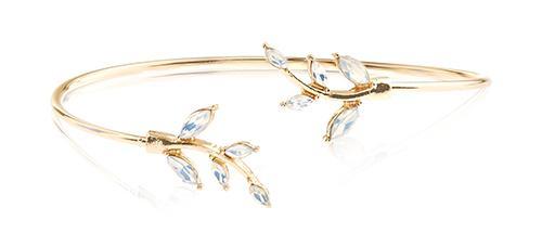 Crystal Leaf Open Cuff Bracelet