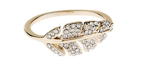 Crystal Pave Leaf Ring