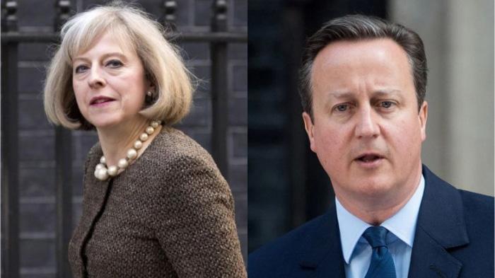 英国首相卡梅伦和特蕾莎·梅