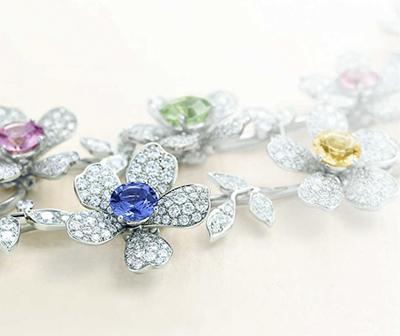 蓝宝石花朵项链
