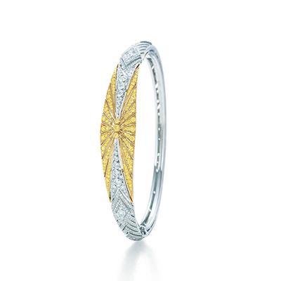 镶黄钻铰链式手镯