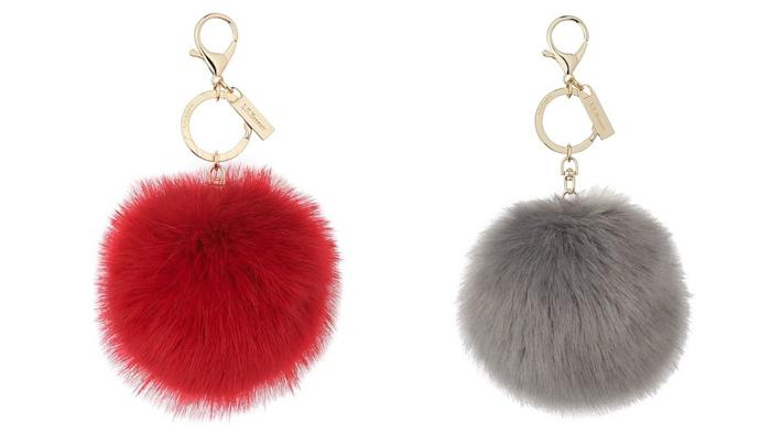 L.K.Bennett Ivy Red Faux Fur Pom-Pom Key Chain