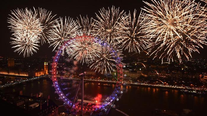 伦敦跨年烟火晚会