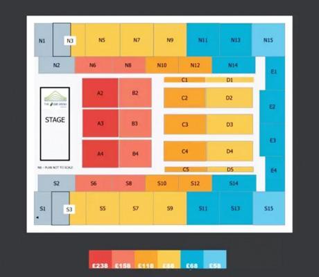 2017周杰伦伦敦演唱会座位分布图