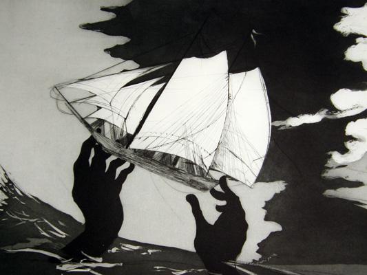Kara Walker (b. 1969), no world, from An Unpeopled Land in Uncharted Waters. Aquatint, 2010