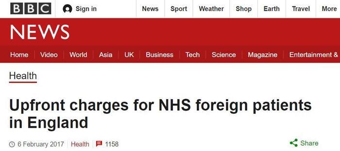 BBC:英格兰地区NHS将对外国病人施行先付费政策