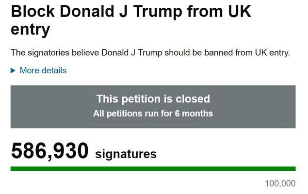 拒绝川普访问英国