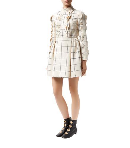 Valentino Checked Ruffle Dress