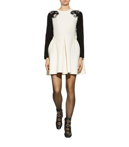 Valentino Panther Sleeve Crepe Dress