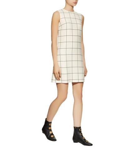 Valentino Grid Print Crepe Dress