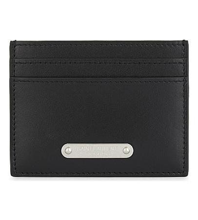 Saint Laurent Branded Plaque Leather Card Holder(圣劳伦斯品牌徽章卡包)